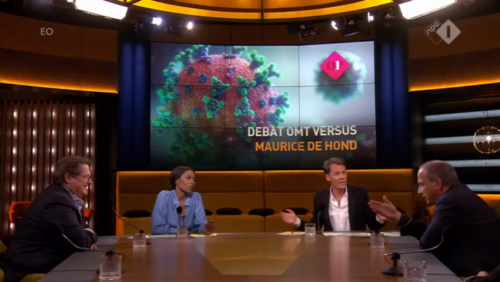 Het debat bij Op1 tussen Andreas Voss en Maurice de Hond (r)