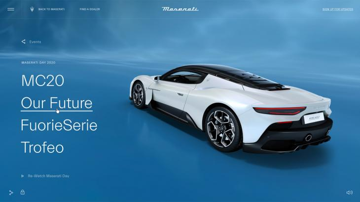 Maserati presenteert jongensdroom via interactieve livestream