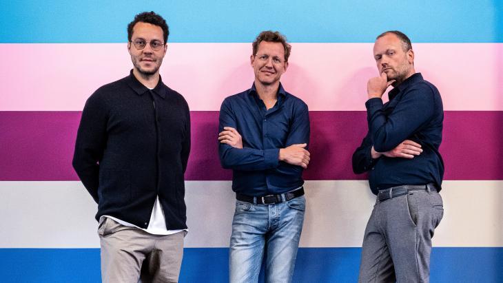 Vlnr: Xander Amo, Bart Reef en Niels Scheide
