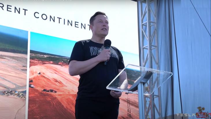 Elon Musk spreekt tijdens de aandeelhoudersvergadering en Battery Day vorige maand. Hij nog boos om de magere belangstelling van de media.