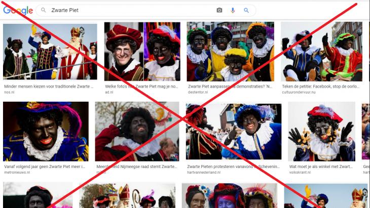 Kruis door zwarte pieten bij Google