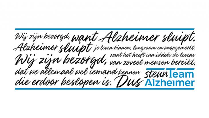 Alzheimer sluipt je leven binnen, dus Steun Team Alzheimer