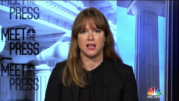 Kate Bedingfield, de komende comms-directeur van het Witte Huis, tijdens een interview met NBC News