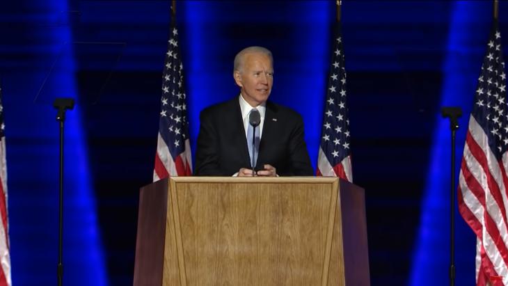 Biden tijdens zijn overwinningsspeech