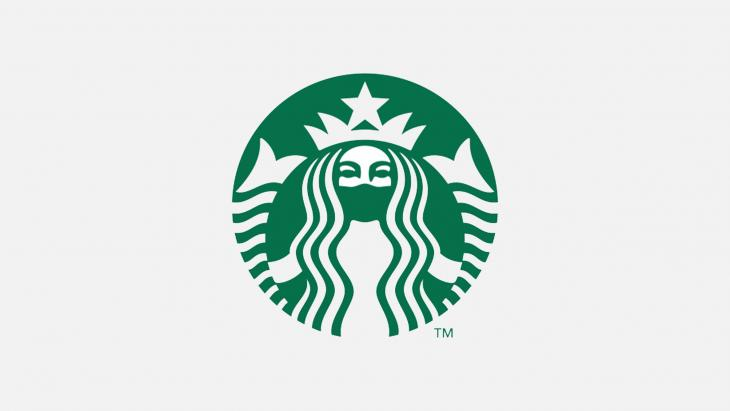 Starbucks wearing a mask
