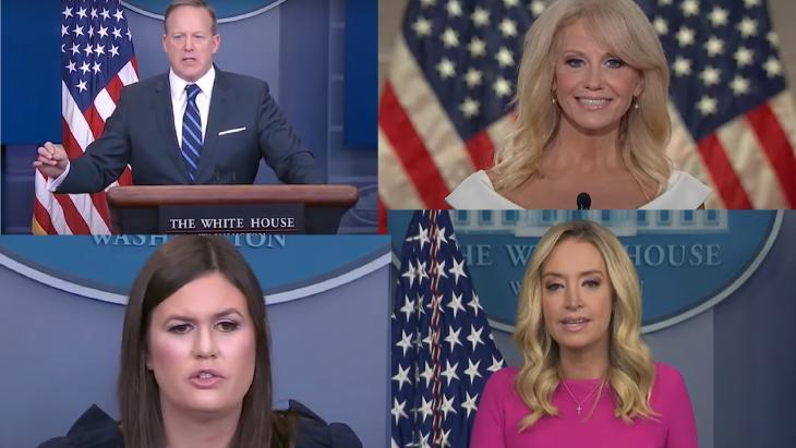 Boven: Sean Spicer (l) en Kellyanne Conway. Onder:  Sarah Huckabee Sanders (l) en Kayleigh McEnany