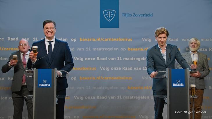 Bavaria drijft spot met persconferentie van Rutte in carnaval-campagne