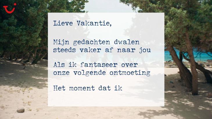 Tui schrijft liefdesbrief aan vakantie