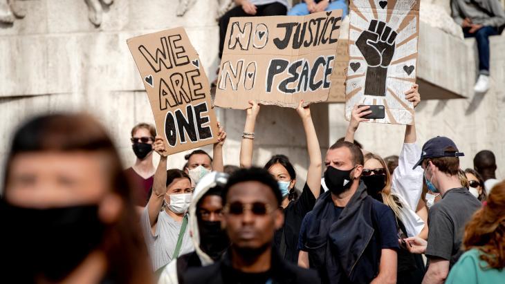De demonstratie Black Lives Matters op de Dam in Amsterdam