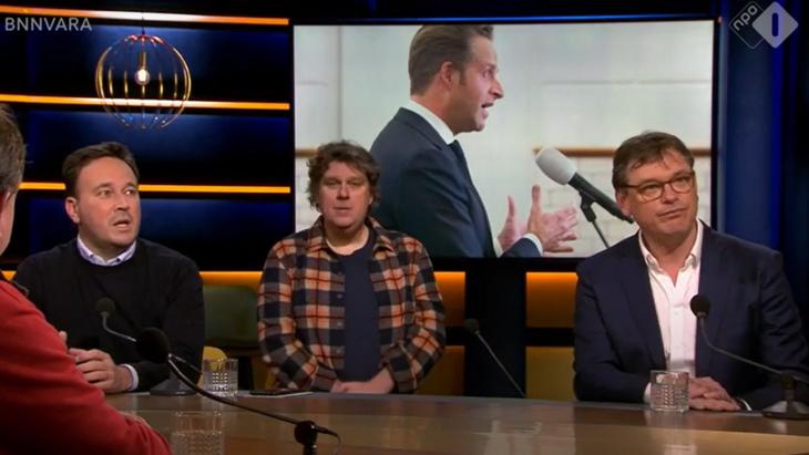 Xander van der Wulp (l) en Joost Vullings bij Op1. in het midden 'mediapersoonlijkheid' Diederik Ebbinge.