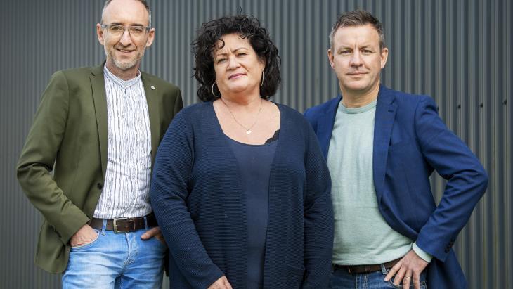 Oprichters BBB, Caroline van der Plas, Henk Vermeer (l) en Wim Groot Koerkamp pr-bureau ReMarkAble