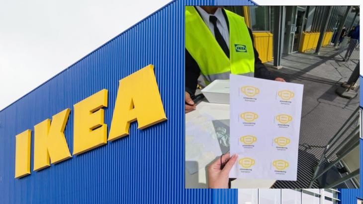 Ikea, met rechts het stickervel dat op sociale media rondging