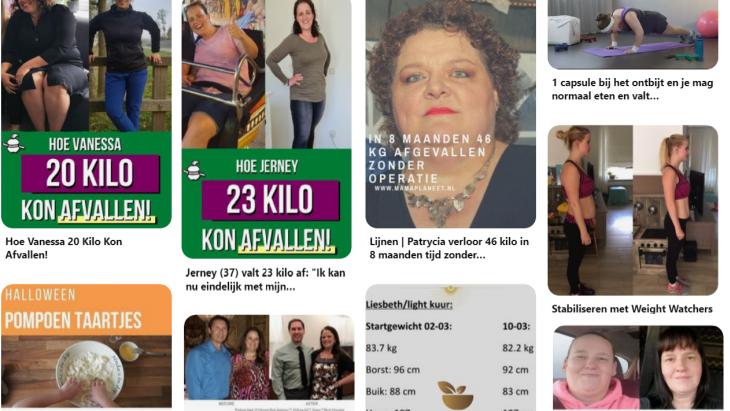 Een Nederlandse zoektocht naar afvallen op Pinterest laat zien dat er hier nog weinig is te merken van het  nieuwe beleid.