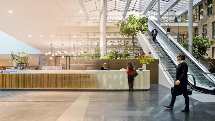 imressie van het interieur van het WTC Rotterdam