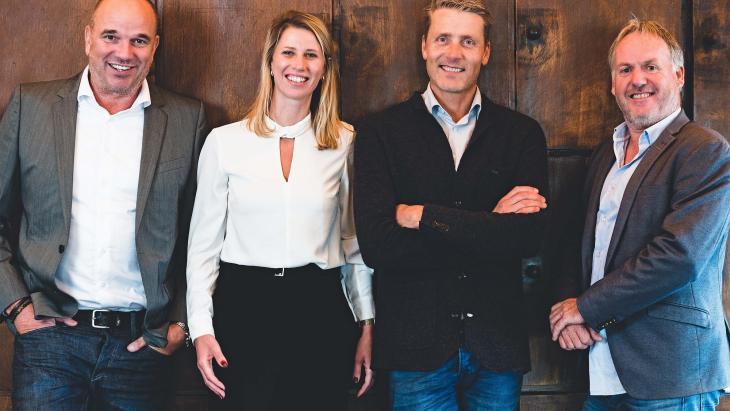 Vlnr: Willem-Jan Nouwens, Samantha Catsburg, Edward Knol en Michael Gottmer.